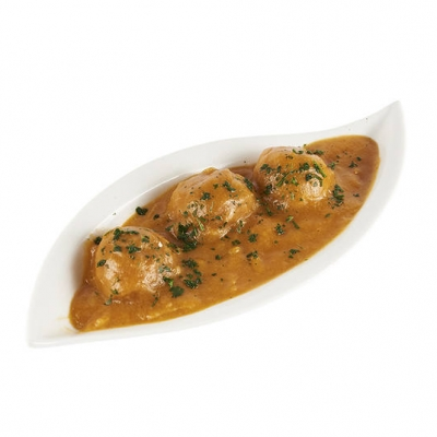 Mandonguilles de pollastre amb salsa de verdures