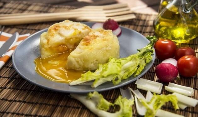Receta de coulant de patata, huevo y bacalao