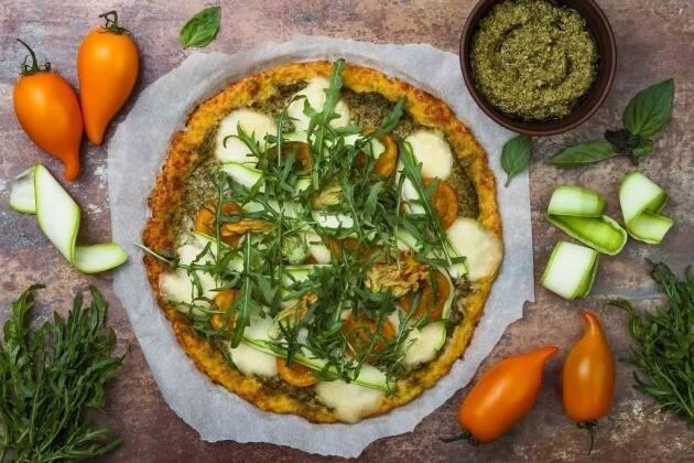 Pizza de massa de coliflor