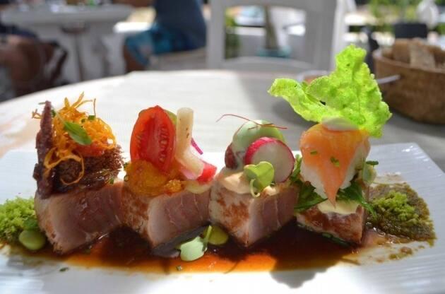 Tataki de atún macerado con secuencia dulce, ácida, picante y salada