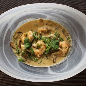 Curry verde de gambas