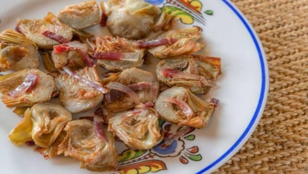 Alcachofas con jamón ibérico. Mesón de Fuencarral