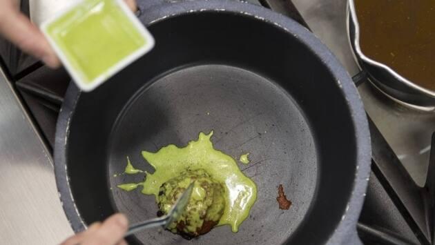 Arroz caldoso de calamar de potera, cigalas y mejillones