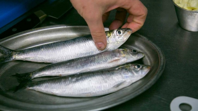Separar la cabeza de la sardina para manipularla después.