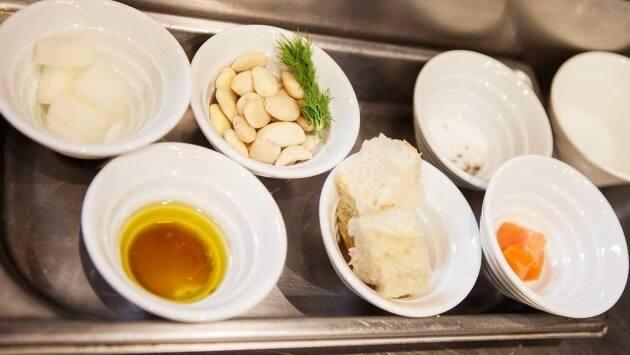 ajoblanco, receta, Salmón, melón, La cuchara de San Telmo