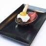 Revuelto de morcilla, foie, boletus y huevo de codorniz