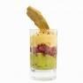 Tartar de atún con espuma de mango y fruta de la pasión, guacamole y teja de orégano con un toque de wasabi