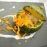 Calabacín al horno relleno de bulgur, espárragos y alga dulse