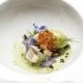 Sopa de pepino y yogur con tartar de anguila ahumada