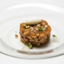 Tartar de salmón, lima y vainilla