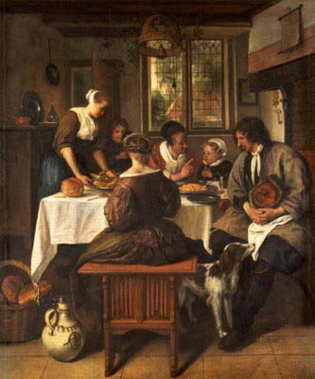 Cuadro de Jan Havicksz Steen de familia comiendo garbanzos
